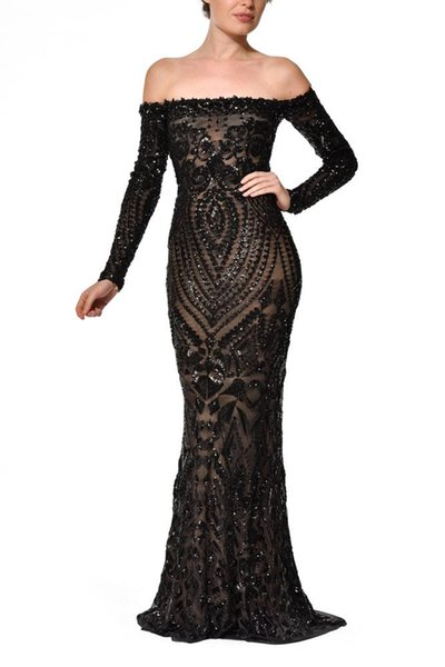 Custom made 2018 Black Lace Appliques Off The Shoulder Prom Dresses Mermaid Long Sleeves African Girl Party Evening Gowns