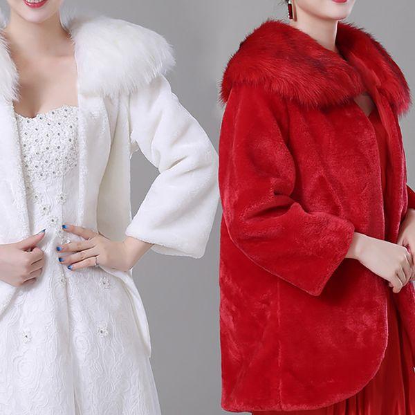 2018 Fall Winter Bridal Wraps Jackets Cheap Faux Fur Long Sleeves Warm Bridal Bolero for Wedding Dresses CPA1494