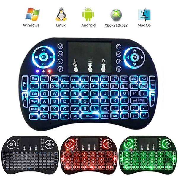 Мини i8 клавиатура с подсветкой 2.4 G беспроводная Fly Air Mouse аккумуляторная с подсветкой сенсорная панель пульта дистанционного управления для MXQ pro TV Box DHL