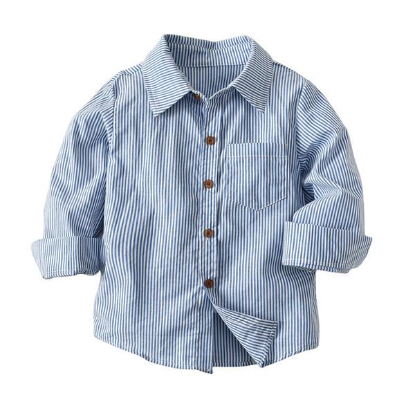 best selling Baby Boys Striped Shirt Turn Down Collar Kids Boy Clothes Fashion Cotton Long Sleeve Shirts 18032201