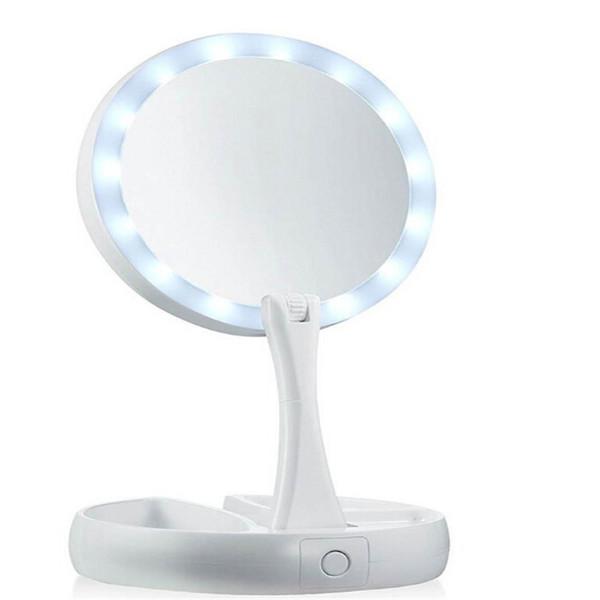 Новый мой Fold Away LED зеркало для макияжа двухсторонний вращение складной USB освещенные тщеславие зеркало сенсорный экран портативный настольная лампа 12 шт.