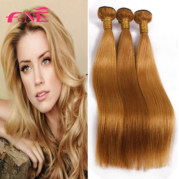 Chinese 100% Virgin human Hair Straight Bundles 3 pcs Light Brown Hair Wefts Cheap Extensions 27# Free Shipping