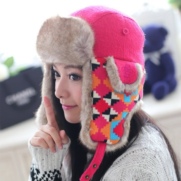 MingJieBiHuo Winter Korean cute wool thickening warm earmuffs windproof hat New fashion women girls