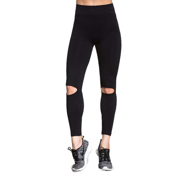 CHRLEISURE S-XL Women Push Up Leggings Workout High Waist Ripped Leggins Activewear Breathable Slim Black Leggings Women