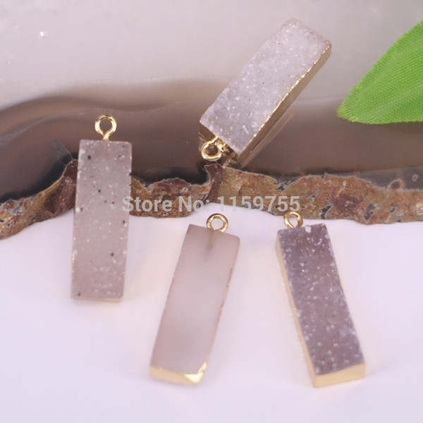 5Pcs Natural Drusy Rectangle Pendant Gold Color Charm Quartz Stone Pendants