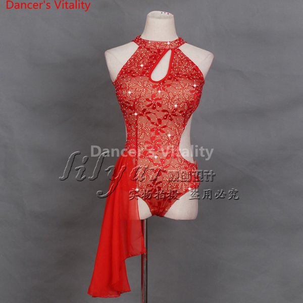 Lady Embroidered Competition Body Suit Sexy Backless Customized Performance Costume Girls Latin Rumba Salsa Tango Chacha Samba Dancing