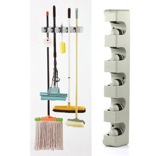 ABS Wall Mounted Kitchen Organizer 5 Position Wall Shelf Storage Holder for Mop Brush Broom Mops Hanger Home Organizer