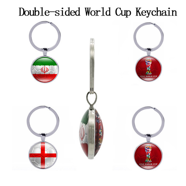 World Cup Double-sided Football Keychains Country Flags Glass Cabochon Soccer Fans Souvenir Car Keyholder Bag Accessories Key Chain