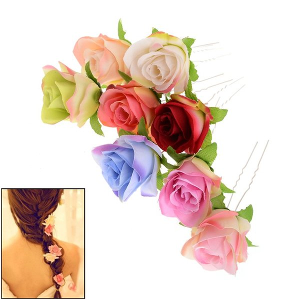 Wholesale 6Pcs Wedding Bridal Hairpin Rose Flower Hair Pin Beauty Hair Clip Women Accessory Jewelry