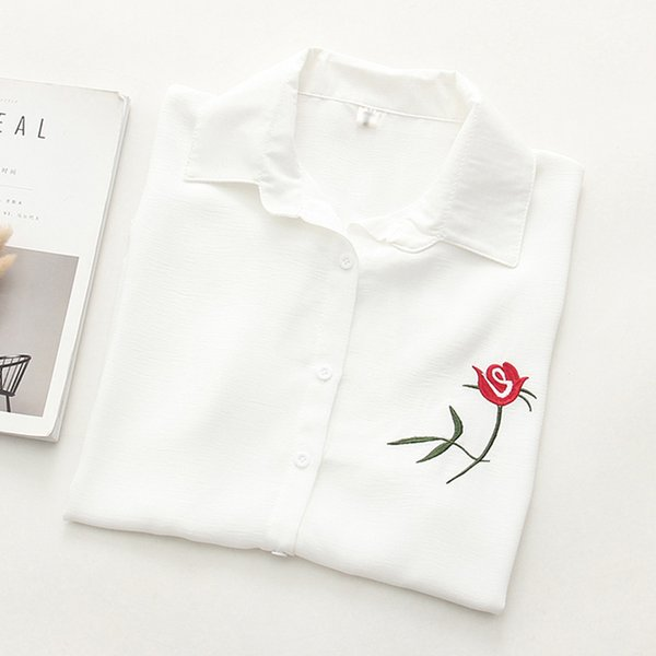 Summer Floral Embroidery Short Sleeve Women Blouses White Shirt Linen Cotton Casual Loose Blouse Womens Tops Blusas