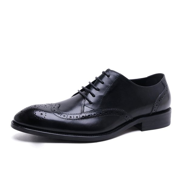 Dress Shoes Vintage Men's Oxford Pointed Toe Casual  Lace Up Dress  Brogue Wingtip Shoes