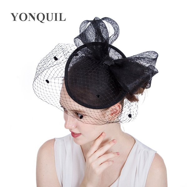 17Colors Hair Accessories Elegant Lady Top dot Net Mesh Veilling bow Fascinator hair band hats for Wedding Church Party DIY millinery SYF167