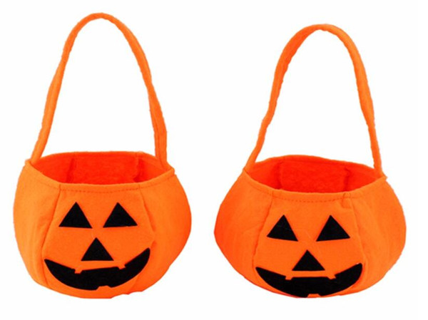 Halloween Foldable Candy Smile Pumpkin Bag Folding Personality Candy Gift Basket Wacky Expressions Treat or Tricky Bag free shipping hot new