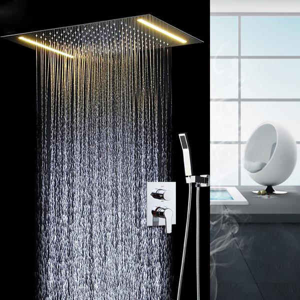 Grosshandel Badezimmer Fixture Led Dusche Set Decke Grosse Rian Showerhead Warme Und Kalte Mixng Ventil Licht Dusche Von Donaold 1251 39 Auf