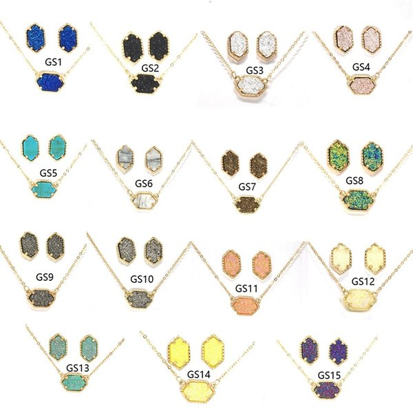 Fashion 15 colors Druzy Drusy Necklace Stud Earrings Jewelry Set Gold Plated Hexagon Resin crystal Necklaces Dangle Earrings Wedding