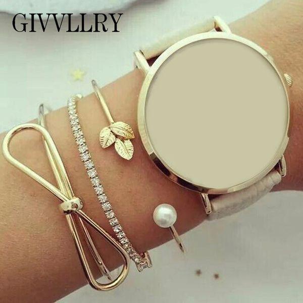 GIVVLLRY Metal Bowknot Leaf Cuff Bangles for Women Elegant Gold Color Shiny Rhinestones Elastic Bracelets Set Fashion jewelry