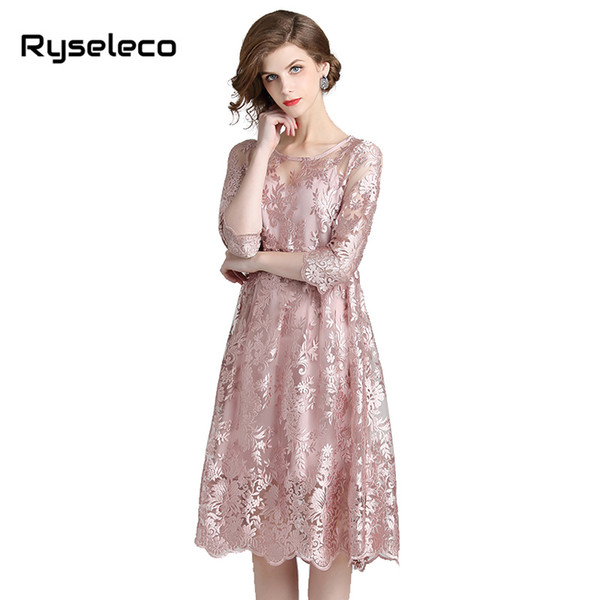 Mädchen Süße Rosa Floral Stickerei Crochet Volle Spitze Kleider Frauen Elegant Chic Qualität Welle Saum Midi Party 2pcs Sets Twinsets
