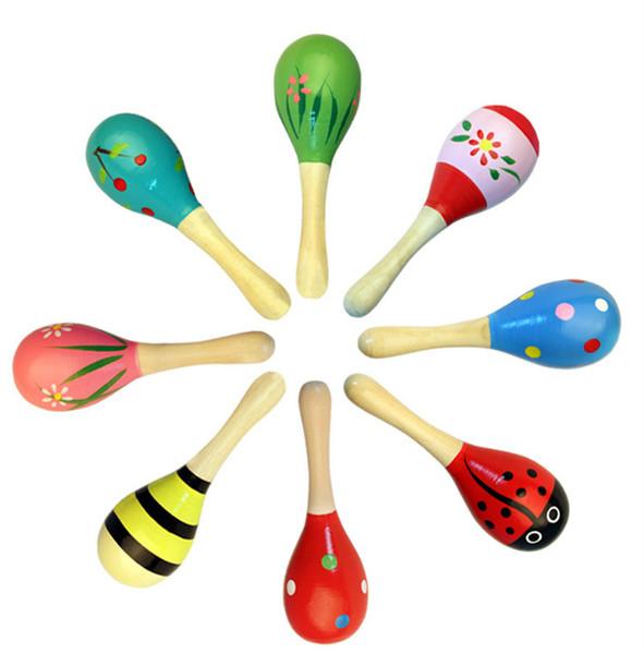 Baby Holzspielzeug Rassel Baby niedlich Rassel Spielzeug Shaker Cute Orff Musikinstrumente lernen Lernspielzeug Kleinkinder Vorschulkind lustig rot