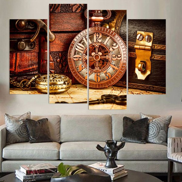4 Pieces Canvas Painting Vintage Watch Box Key Poster HD Printed wall art picture for room decoration no frame