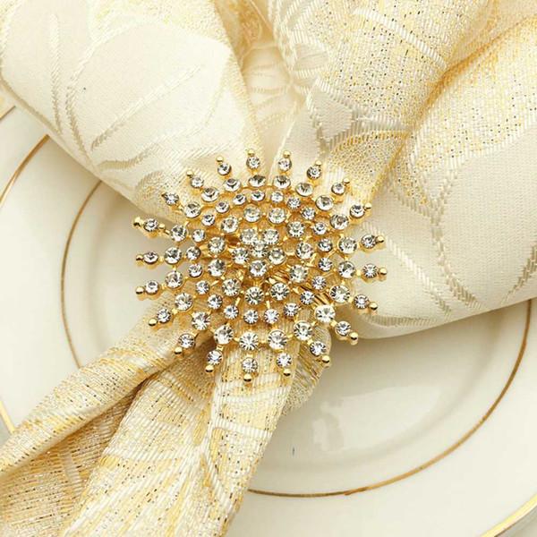 12 pcs fine serviette cercle hôtel fournitures de mariage anneau de serviette imitation or diamant perle boucle bureau décoration