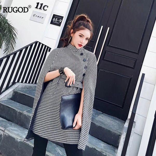 Wholesale- Rugod 2017 Women New Autumn Long Trench Coat Global Fashion Plaid Knitted Windbreaker Female Long Belt Tunic Coat Femme Overcoat