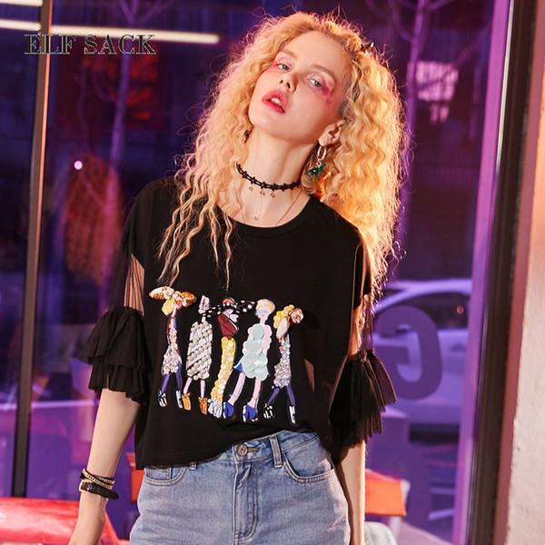 ELF SACK Frauen Süße Kawaii Sommer T-shirts Frauen Druck Pailletten Perlen Rüschen Ärmel Tops Weibliche O Neck Casual T-shirts T