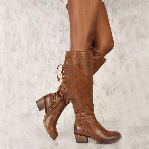 Compre Botas Altas Hasta La Rodilla Mujer Otoño Invierno De Piel Sintética Zapatos De Tacón Grueso Damas Cruz Atado Punk Botas De Montar Más Tamaño