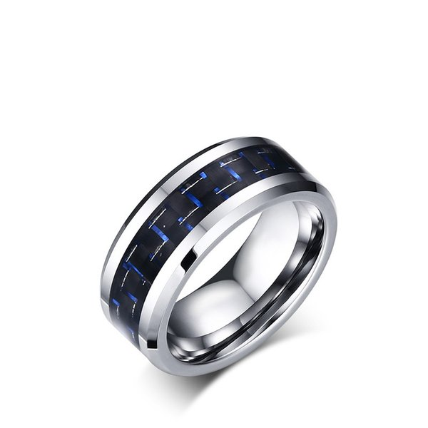 8mm Mens Tungsten Ring Wedding Band Polished with Black and Blue Carbon Fiber Inlay Size 7-12