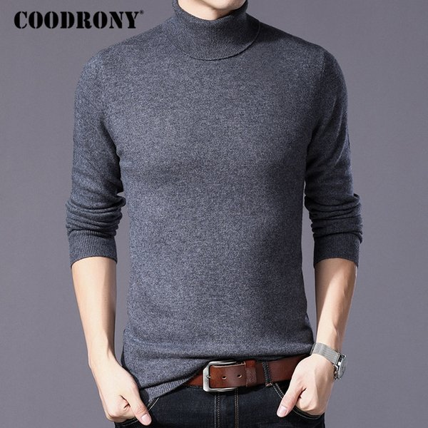2019 COODRONY Pure Merino Wool Sweater Men Winter Thick Warm Turtleneck Mens Sweaters Cashmere Pullover Men Christmas Pull Homme W004 From Aimea,