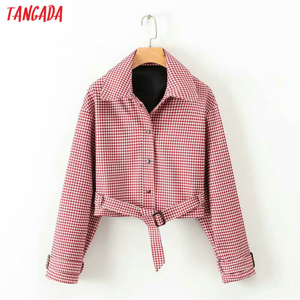 Neu Streetwear Kurze Tangada Xd486 90er Großhandel Mit Jahre Angekommen 2018 Frauen Plaid Damen Übergroßen Weibliche Gürtel Roten Mantel Jacke UzqjGLMpSV