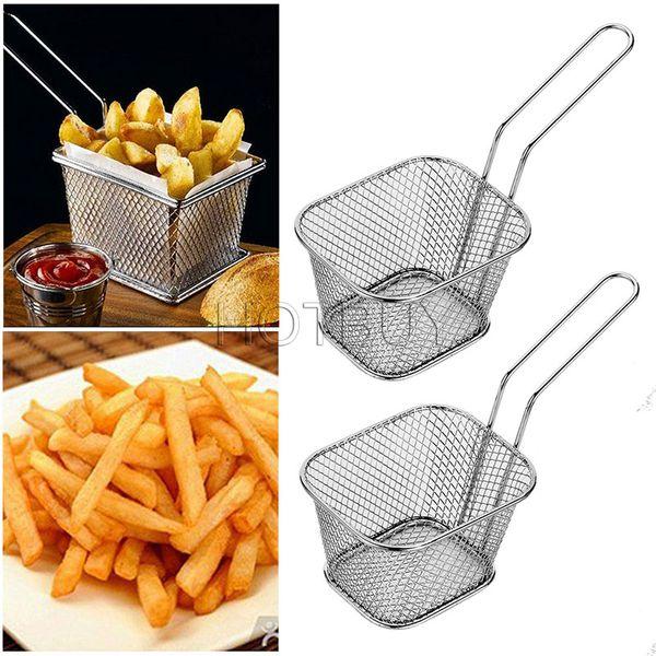 Chips Mini Fry Baskets Stainless Steel Fryer Basket Strainer Serving Food Presentation Cooking Tool French Fries Basket #4580