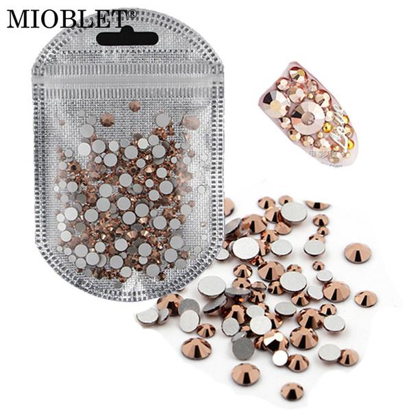 MIOBLET SS3-SS30 Mixed Size Rose Gold Crystal Rhinestones Flatback Non Hix Glass Round Nail Art Rhinestoned Stones Gems #K553