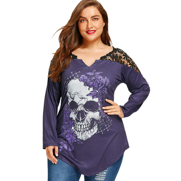 Plus Size 5XL Lace Crochet Skull Print Asymmetrical Top Graphic Tees Women Sexy T Shirts Long Sleeve Loose T-shirt