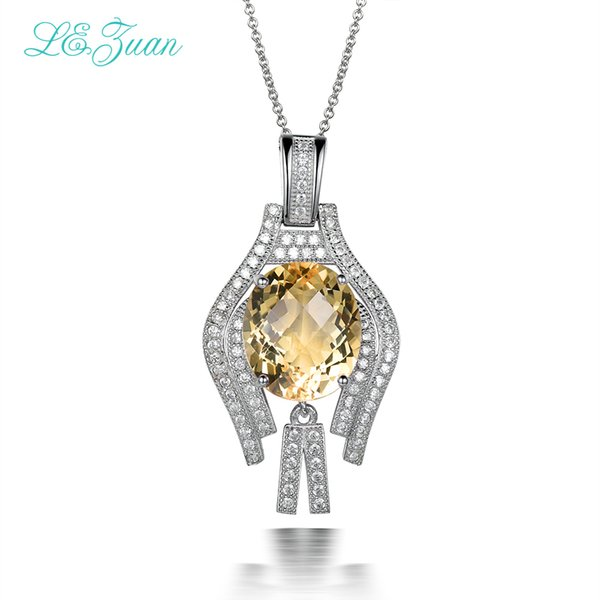Sterling Charms Silver 925 Pendants Necklaces Women 7.38ct Natural Citrine Necklace Fine Jewelry Drop Shipping P0043-W05