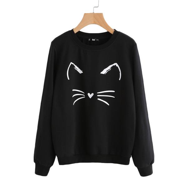 Shein Cartoon Cat Print Sweatshirt Long Sleeve Casual Women Pullovers Black Round Neck Cute Sweatshirt For Women
