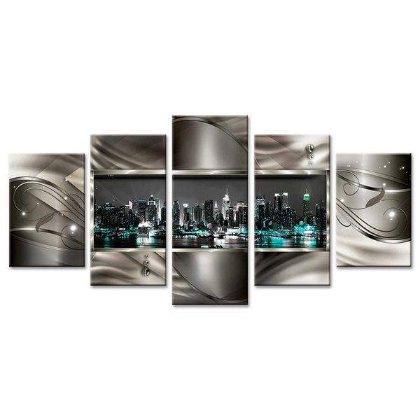 Amosi Art 5 Panels Canvas Wall Art Night View of City Beautiful Flower Background Landscape Canvas Painting for Home Deco Ready to Hang
