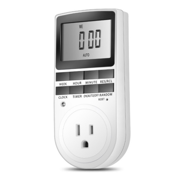 120V 15A Timer Switch Socket Electronic Digital US Plug-in Programmable 7 Day 12/24 Hour Timer Switch Socket
