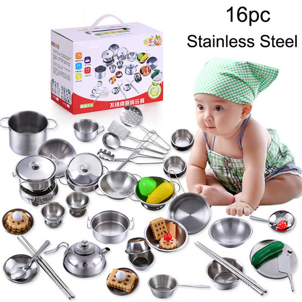 best selling 16 Pcs Set Kids Play House Kitchen Toys Cookware Cooking Utensils Pots Pans Gift toys for children brinquedos menina