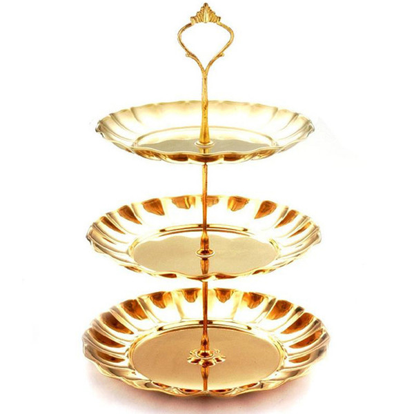 1 Pcs Stainless Steel Cake Stand 2 / 3 Tier Candy Fruits Cakes Desserts Plate Stands for Wedding Party Cakecups