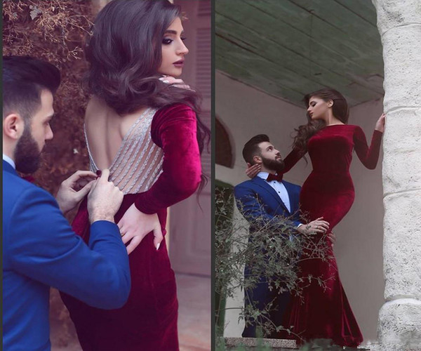 Exquisite Red Velvet Bateau Cocktail Party Wear Dresses Mermaid Beading Long Sleeve Backless 2018 Evening Prom Dress