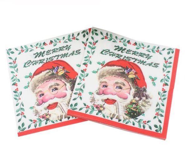 Disposable Christmas Napkin Santa Claus Elk Gift Paper Napkins For Christmas Decoration Party Supplies 33x33 cm