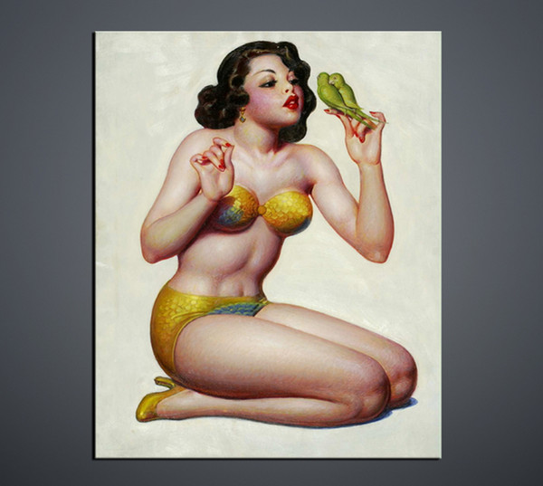Hot sexy open photos Girl and birdie b f wallpaper Wall art painting Poster Body photograph Wholesale and retail