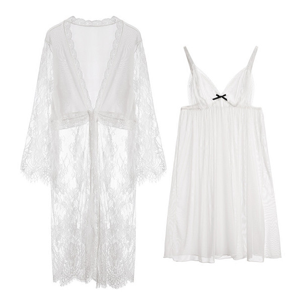 Vestido de bordado de encaje de gasa de las señoras transparentes para adultos Conjunto del vestido de la ropa de dormir Traje de Homewear Vestido de noche Albornoz 2 PCS Conjunto