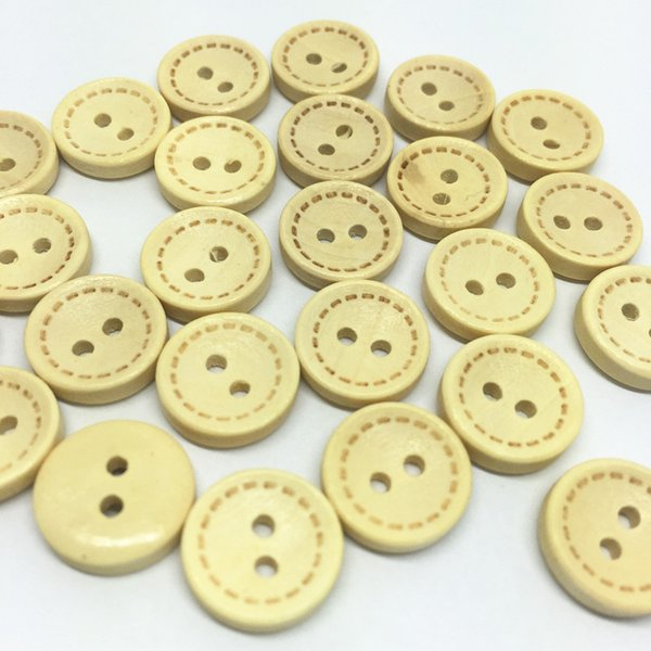 1000pcs 13mm Wood Bowl Buttons Natural Round 2 Holes Coat Sewing Accessories Button Boutons Embellishments Cardmaking