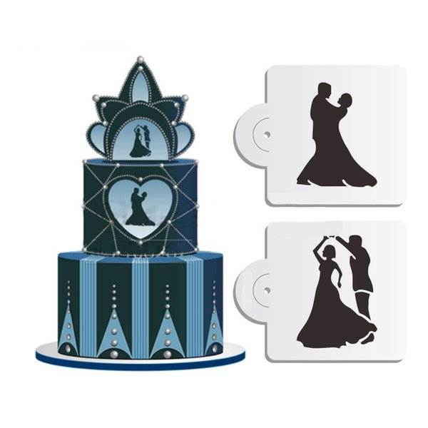 Facemile Stencil 2PCS Wedding Cake Border Decorating Cupcake Stencil Mold Coffee Mould Kitchen Bakery Gift