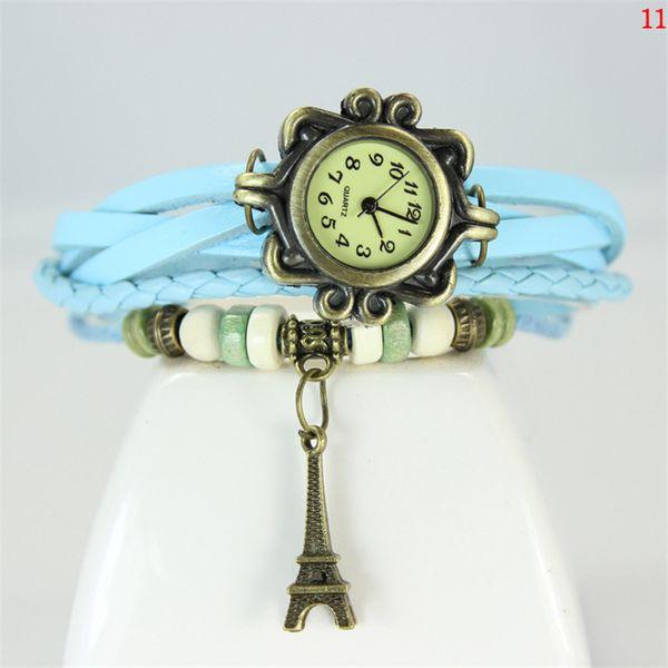 Women Leather Band WristWatches charm Bracelet Retro Watches Vintage Eiffel Tower Pendant Watches Weave Wrap Quartz Watches for Lady U003