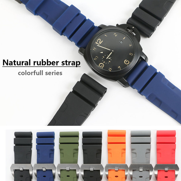 best selling 26mm 24mm Colorful Waterproof Rubber Silicone Watch Band Strap Pin Buckle Watchband Strap for Panerai Watch PAM Man PAM00616 with Tools