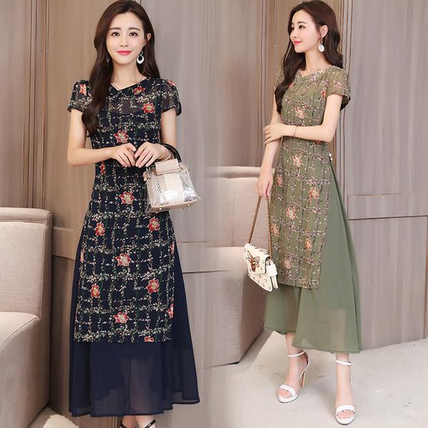 2018 yaz siyah kadın aodai vietnam geleneksel giyim ao dai vietnam bornozlar ve pantolon kostümleri geliştirilmiş cheongsam