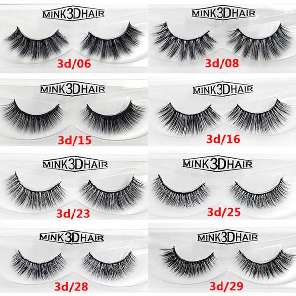 12 styles 2pcs/pair 100% Real Siberian 3D Mink Full Strip False Eyelash Long Individual Eyelashes Mink Lashes Extension 50 sets DHL