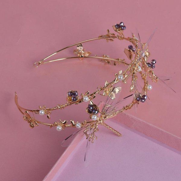 Baroque Bride An crown Handmade modeling marry Dragonfly Head ornaments Hair hoop An crown tiara wedding bridal accessories veils designer